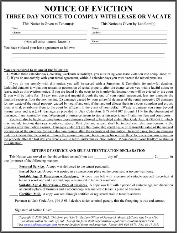 Utah Eviction Law - Lease Violations